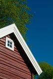 Detail van rood blokhuis stock foto's
