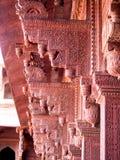 Detail van Rood Gesneden Metselwerk bij Agra-Fort in India Stock Foto's