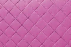 Detail van roze genaaid leer, roze van de leerstoffering patroon als achtergrond Royalty-vrije Stock Afbeelding