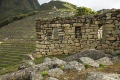 Detail van ruïnes in Machu Picchu Stock Afbeeldingen