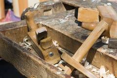 Detail van schrijnwerkerswerkruimte Stock Fotografie
