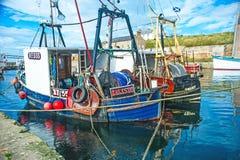 Detail van sleepnettoestel in Burghead-boten Stock Foto's