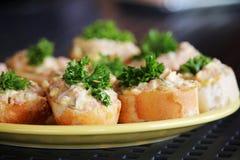 Detail van smakelijk met uitgespreid en groenten Royalty-vrije Stock Fotografie