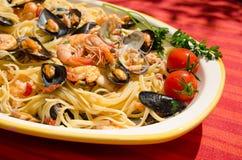 detail van spaghetti met zeevruchten Stock Foto