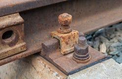 Detail van spoorwegspoor Stock Fotografie