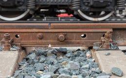 Detail van spoorwegspoor Stock Foto's