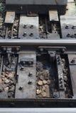 Detail van spoorwegspoor Stock Afbeeldingen