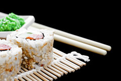 Detail van sushi op een mat Stock Foto's