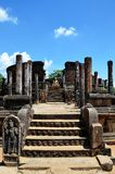 Detail van tempel met Boedha, Oude stad, Polonnaruwa, Srí Lanka Royalty-vrije Stock Foto's