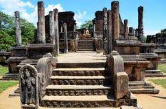Detail van tempel met Boedha, Oude stad in Polonnaruwa, Srí Lanka Royalty-vrije Stock Afbeeldingen
