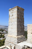 Detail van toren Agrippa van de Akropolis Propylaea royalty-vrije stock afbeelding