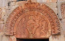 Detail van traditionele Armeense rotsgravure Novarankklooster in Armenië royalty-vrije stock foto's