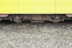 Detail van tramwielen stock afbeelding