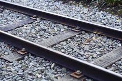 Detail van treinsporen stock foto's