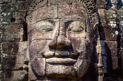 Detail van uitstekend steengezicht in de Bayan-tempel in Angkor Wat Stock Foto's