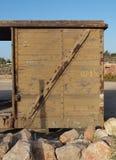 Detail van verlaten houten spoorwegauto Royalty-vrije Stock Foto's