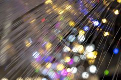 Detail van vezel optische lamp met gekleurde lichten als achtergrond stock foto's