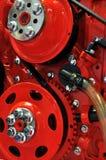Detail van vliegwiel en riem, dieselmotor Stock Foto's
