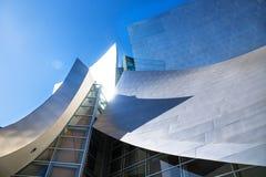 Detail van Walt Disney Concert Hall met zonbezinning, Los Angeles, Californië royalty-vrije stock fotografie