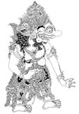 Kumbakarna. Detail vector drawing of shadow puppet warrior character stock illustration