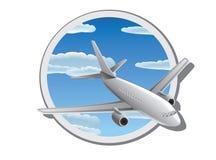 Detail vectorillustratie van vliegtuig in de hemel Stock Afbeeldingen
