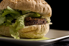Detail of veggie burger Royalty Free Stock Images