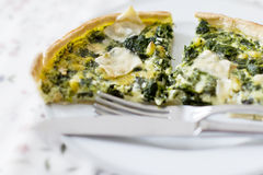 Spinach, pine nuts and goat cheese pie Stock Photo