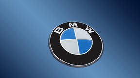 Detail of the vent of a BMW logo on blue Royalty Free Stock Images