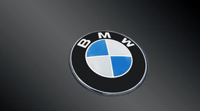 Detail of the vent of a BMW logo on grey Royalty Free Stock Photos