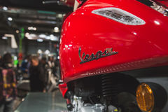 Detail of Vespa scooter on display at EICMA 2014 in Milan, Italy Stock Photo