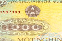 Detail of a 1000 vietnamese bank note obverse stock image