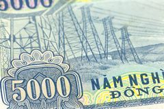 Detail of a 5000 vietnamese bank note reverse stock photo