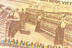 Detail of a 2000 vietnamese bank note reverse stock photos