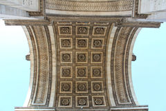 Detail view of the Arc de Triomphe (Arch of Triumph). Upward view when standing under the Arch, Paris, France Royalty Free Stock Photography