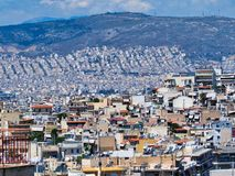 Detail View of Athens High Density Housing, Greece. High level view over high density residential and commercial buildings in suburban Athens, Greece, with newer royalty free stock photography
