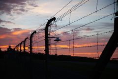 Detail view of barbed wire fence from Buchenwald Concentration royalty free stock photo