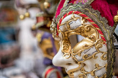 Detail view of beautiful venice mask. Traditional carnival mask for sale. Stock Photo