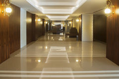 A detail view of a building's interior hallway. Stock Image