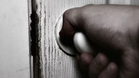 Detail view of a burglar trying to get into a house. stock footage