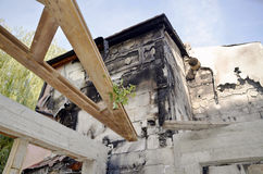 detail view of a burnt-out building Royalty Free Stock Photo