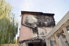 detail view of a burnt-out building Stock Image