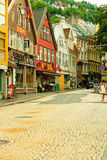 Detail view of city Bergen on July 25, 2014 in Norway Royalty Free Stock Image
