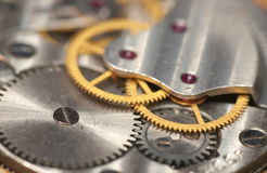 Detail view of clock gear. Open watch background, inside of  clock Royalty Free Stock Photo