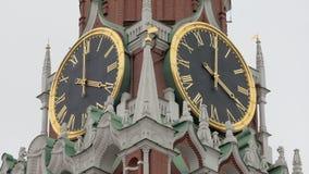 Detail view of clock of Kremlin on Spasskaya Tower in Moscow. Historical building stock footage