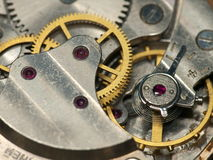 Detail view of clock pendulum. Open watch background, inside of  clock Stock Photography