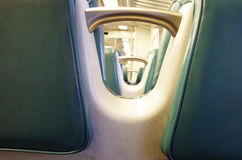 Detail view of commuter train seats Royalty Free Stock Photo