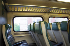 Detail view of commuter train seats Royalty Free Stock Photography