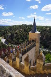 Detail view of defence tower at Alcazar of Segovia Castle,Spain. Detail view from above of a perimeter defence tower at spectacular Alcazar of Segovia medieval Stock Image