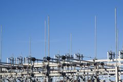 Detail view of electrical substation royalty free stock photos