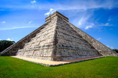 Detail view of famous Mayan pyramid in Chichen Itza Royalty Free Stock Photo